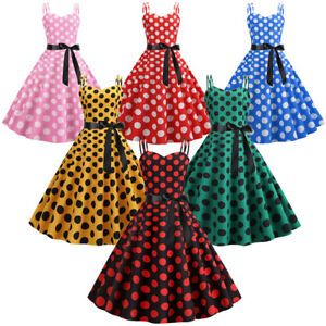 Retro-Women-039-s-50s-Spaghetti-Strap-Vintage-Polka-Dot-Swing-Rockabilly-Party-Dress
