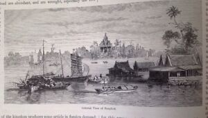 Siam-General-View-Of-Bangkok-1882-Antique-Print-Original
