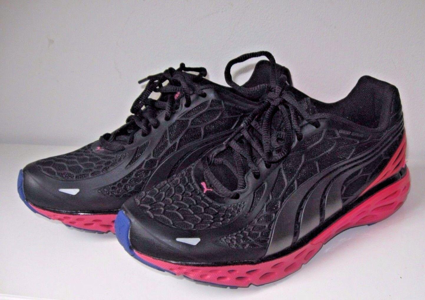 Le donne che gestiscono bioweb puma nero neon rosa scarpe da ginnastica nuove dimensioni 8,5
