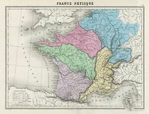 Details about 1878 Migeon Physical Map of France