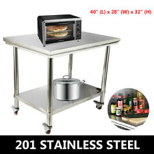 40x28 Stainless Steel Kitchen Worktable Food Prep Work Bench Cabinet With Wheels