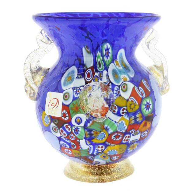 Glassofvenice Murano Glass Millefiori Urn Vase With Lion Heads