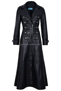 New Rock 100 Coat Ladies Real 3490 Full Jacket length Goth Leather Long Black dTnqv