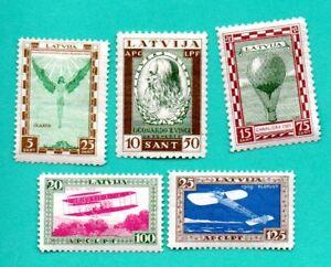 LETTONIE-LETTLAND-Lot-de-5-timbres-1932-S-CB10-13-M-210-214-Comme-neuf-948