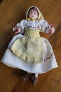 "Russian Folk Art Young Girl Dress Scarf Primitive Doll Small 5"""