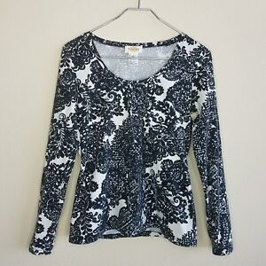 Talbot-039-s-Knit-Top-Shirt-Small-Black-White-Paisley-Long-Sleeve-Scoop-Neck