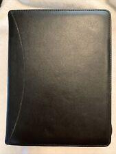 Day Runner Black Genuine Leather Zip Close 3 Ring Planner Organizer Binder