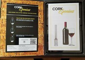 Wine-Opener-Cork-Genius-BLACK-Pour-Spout-Stopper-Foil-Cutter-Bonus-Chill-Stick