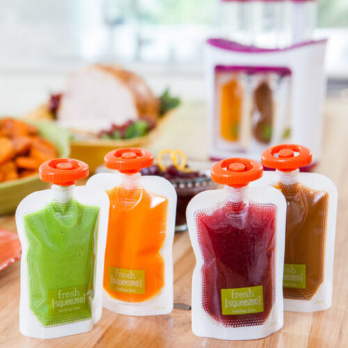 Single Use Food Pouch Smoothie Bags Refillable Fresh Storage With Lid 50 PCS