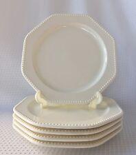 "5 Sears Ironstone Octagon White 4569 Dinner Plates Beaded Edge 10 1/4"""