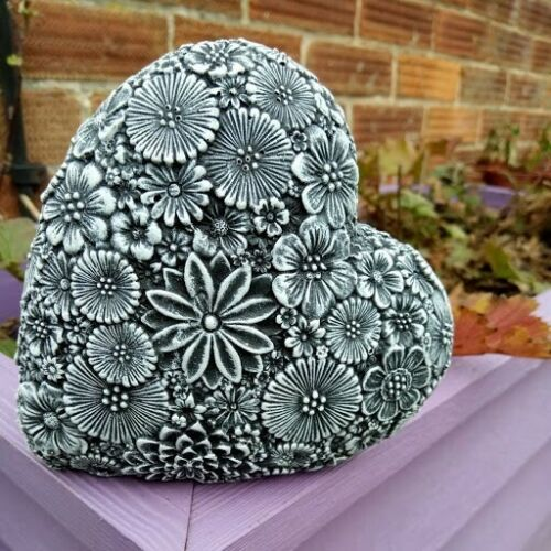 Highly Detailed and quality finish LOVE HEART FLORAL Garden Ornament Stone