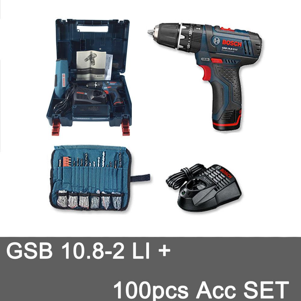 Bosch GSB 10,8-2-LI Professional(Battery   Charger)with 100pcs Drill Bit SET