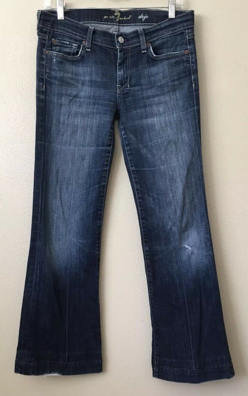 7 For All Mankind Womens Dojo 29 Medium bluee Jeans Wide Leg Flare bluee Trouser