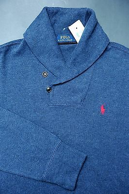 NWT Polo Ralph Lauren Men Shawl Collar Dark Blue Pullover Cotton Sweat Sweater S