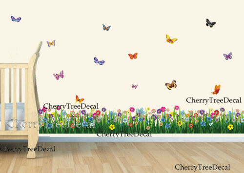 Grass Butterfly Wall Art Decal Stickers Home Decoration Wall Border Transparent