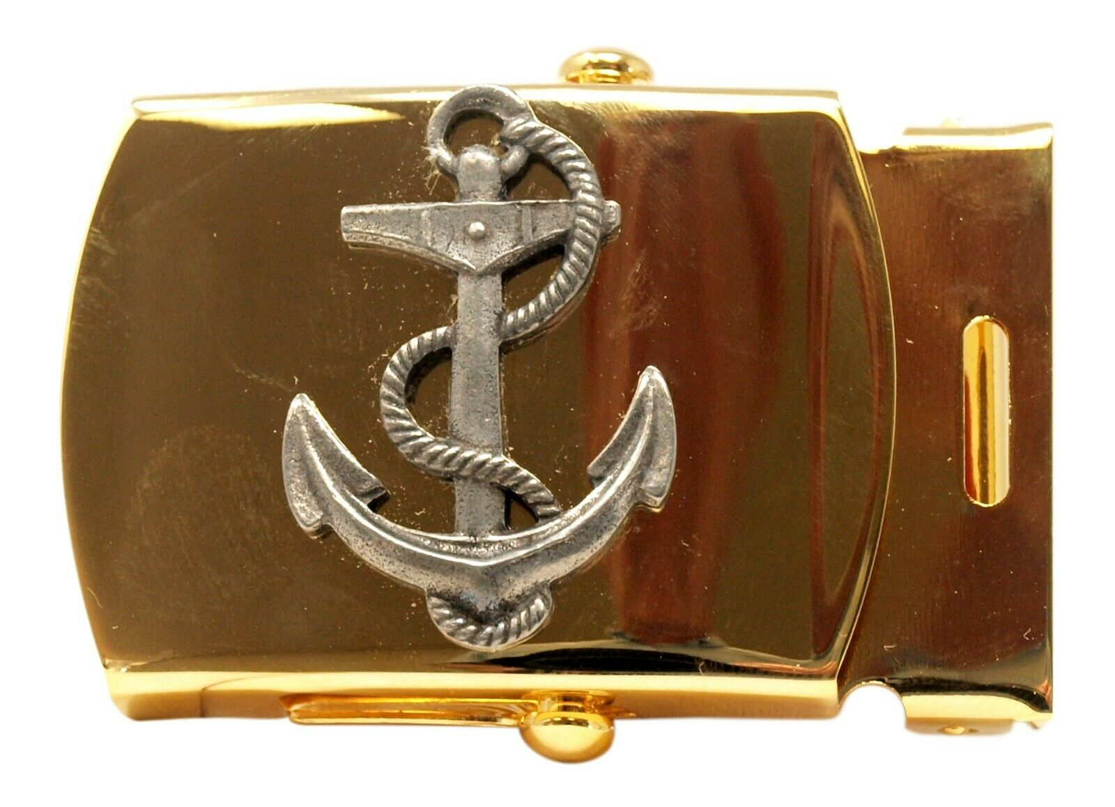 Nautical Anchor Brass Buckle, Military Style, 1-1/4
