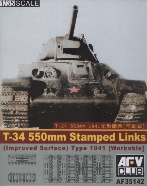 AFV Club 1/35 AF35142 WORKABLE WWII T-34 550mm Stamped Links (Improved Surface)