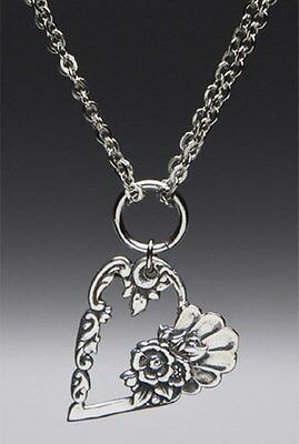 "SILVER SPOON LOUISE HEART PENDANT NECKLACE SILVER PLATED 1 1/4"" X 1 1/8"""