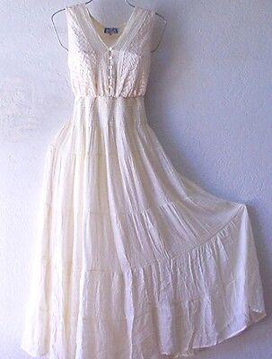 NEW~Long Ivory Crochet Lace Peasant Tiered Empire Boho Maxi Plus Dress~26/28/3X