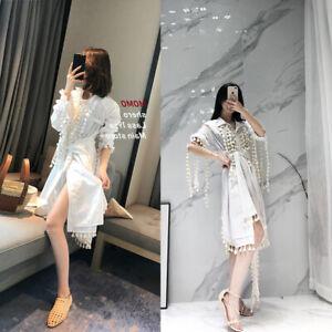 55ca2dd5ab1 Image is loading 2019-Womens-Designer-Inspired-Tassels-Oversized-Shirt-Dress -