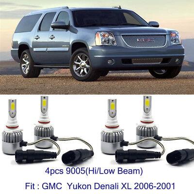 LED Headlight Kit 9005 6000K White Bulbs for 2000-2006 GMC Yukon XL 1500 Denali