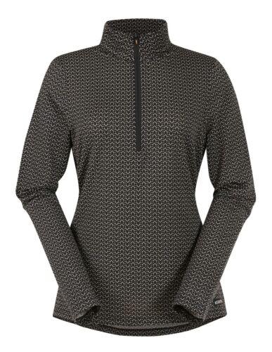 Kerrits Ice Fil Lite Long Sleeve Riding Shirt Print Black//Sand Chevron Bits