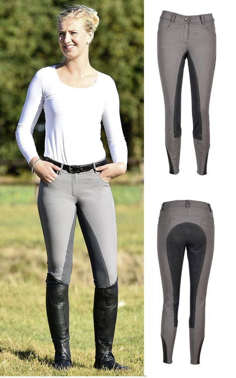 Busse Pantalones de Montar Señoras Granada Badana con Siliconprofil Mujer gris