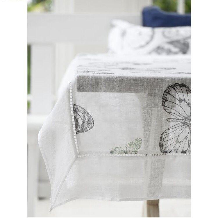 Lene Bjerre Affair Butterfly Tablecloth 160cm x 220cm 100% Linen Cotton Green