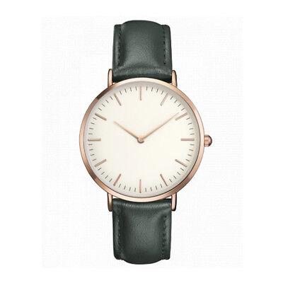 Women Men Simple Quartz Analog Watch Silver Gold Leather Band Wrist Watches