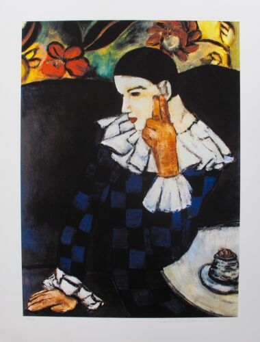 Pablo Picasso HARLEQUIN LEANING Estate Signed /& Stamped Limited Edition Giclee