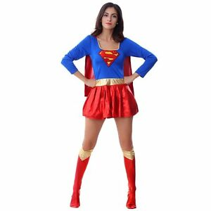 damen supergirl superheld kost m junggesellinnenabschied gr en 6 16 gratis ebay. Black Bedroom Furniture Sets. Home Design Ideas