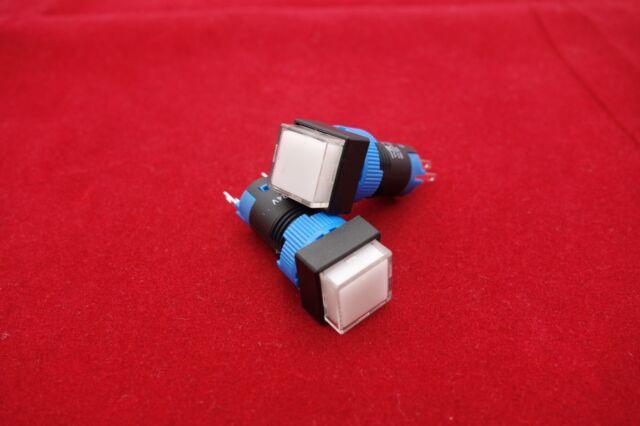 2PCS Cutout 12MM 6V Green LED ILLUMINATED Square Momentary PUSH BUTTON 5 PINS