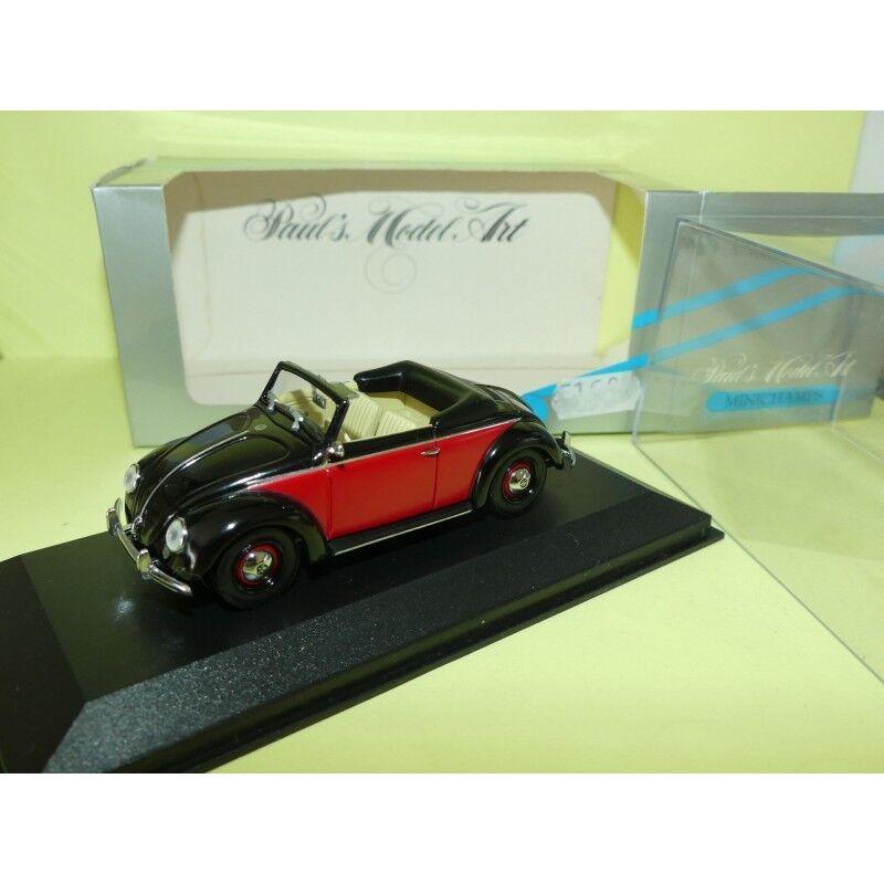 VW COCCINELLE CABRIOLET Noir et Rouge MINICHAMPS 1 43
