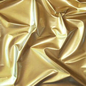 Shiny-High-Glossy-PVC-Vinyl-Pleather-Gothic-Fetish-Cat-Suit-Waterproof-Gold-44-039-w