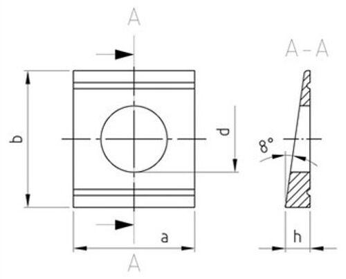 DIN 434 Vierkant-Keilscheiben 9-30 mm für U-Träger Edelstahl A2//A4 diverse