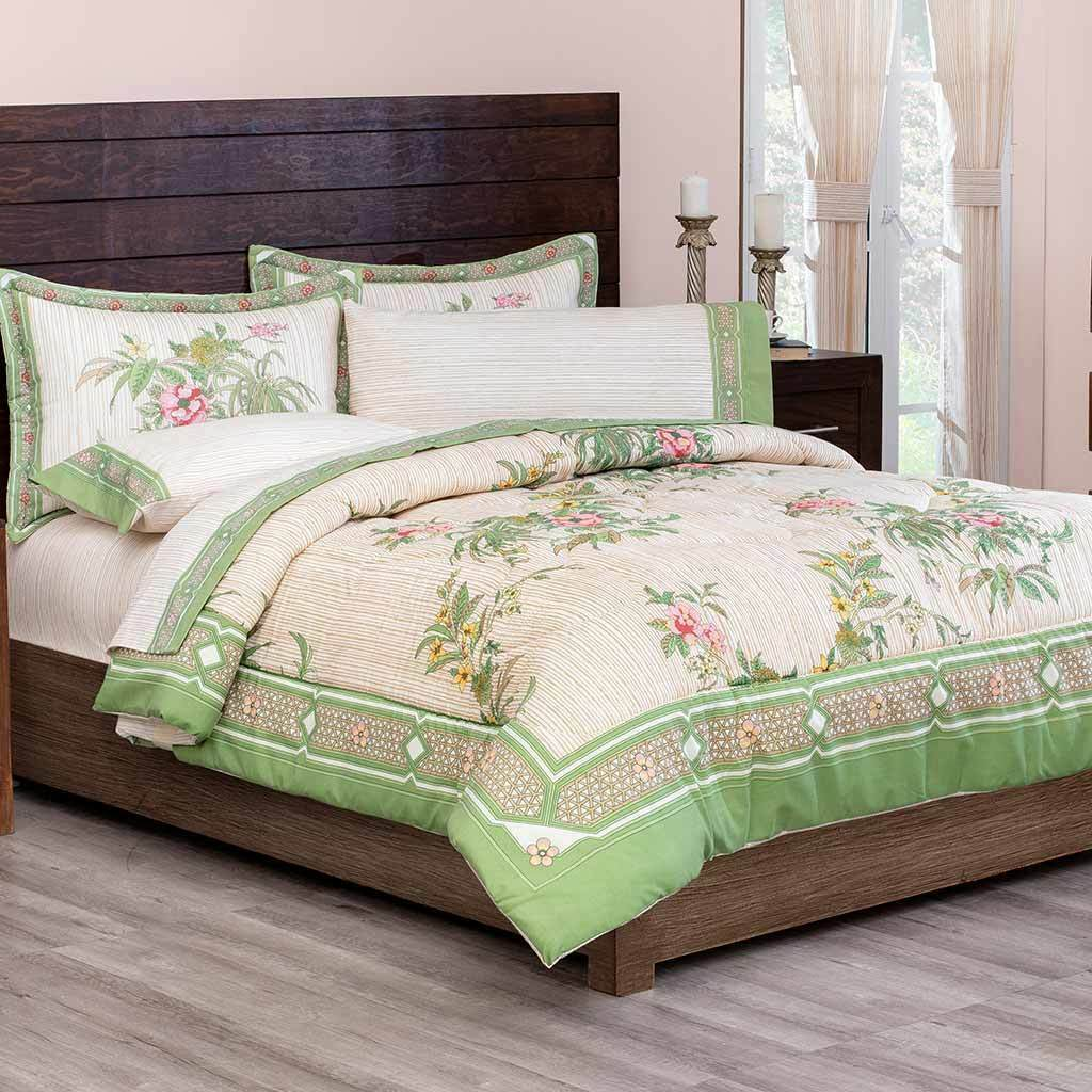 Renacimiento verde and bianca Floral Reversible Comforter Set 8-9 Pieces