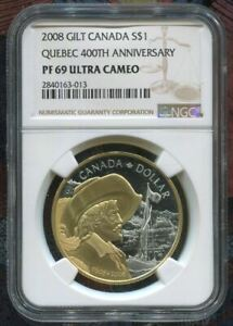 2008-CANADA-1-400TH-ANNIV-OF-QUEBEC-CITY-GILT-GOLD-NGC-PF69-UC-SILVER
