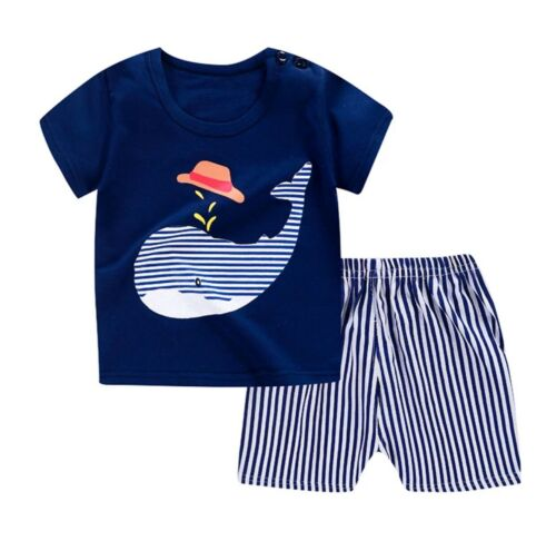 summer outfit 100/% cotton New Boys shorts and T-shirt summer set 6-9 months