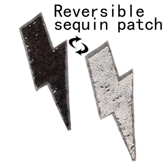 lightning reversible change color sequins sew on patch for clothes DIY appliques
