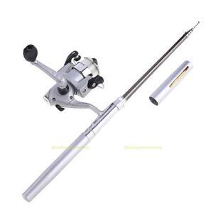 Stift-Telerute-Angelruten-Fliegenrute-Teleskopruten-mit-Angelnrolle-Set-Silber