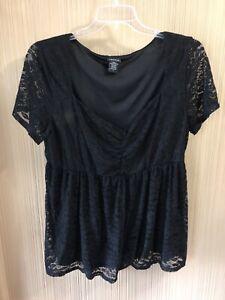 Women-s-Plus-Size-Torrid-Black-Lace-Shirt-Size-2
