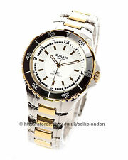 Omax Gents Divers 50M White Dial Watch, Stainless/Gold Finish, Seiko (Japan) Mvt