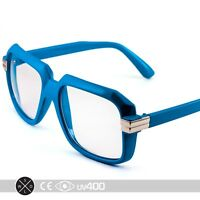 Blue RUN DMC Old School Hip Hop Square Vintage Squared Glasses FREE Case S252