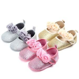 Newborn Baby Boys Girls Soft Sole Flower Bling Toddler First Walker Soft Sole Shoes Infant Moccasins