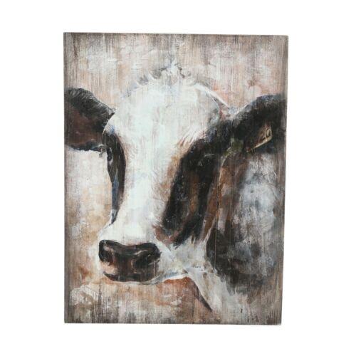Animal Alpen Wandobjekt Cow Bauern Bild Kuh beige Höhe 60 cm Alm Wanddeko