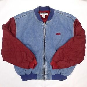 1e71c9e84 Vtg 90s Mens Denim Jacket UNION BAY Letterman Style Blue Jean Red ...