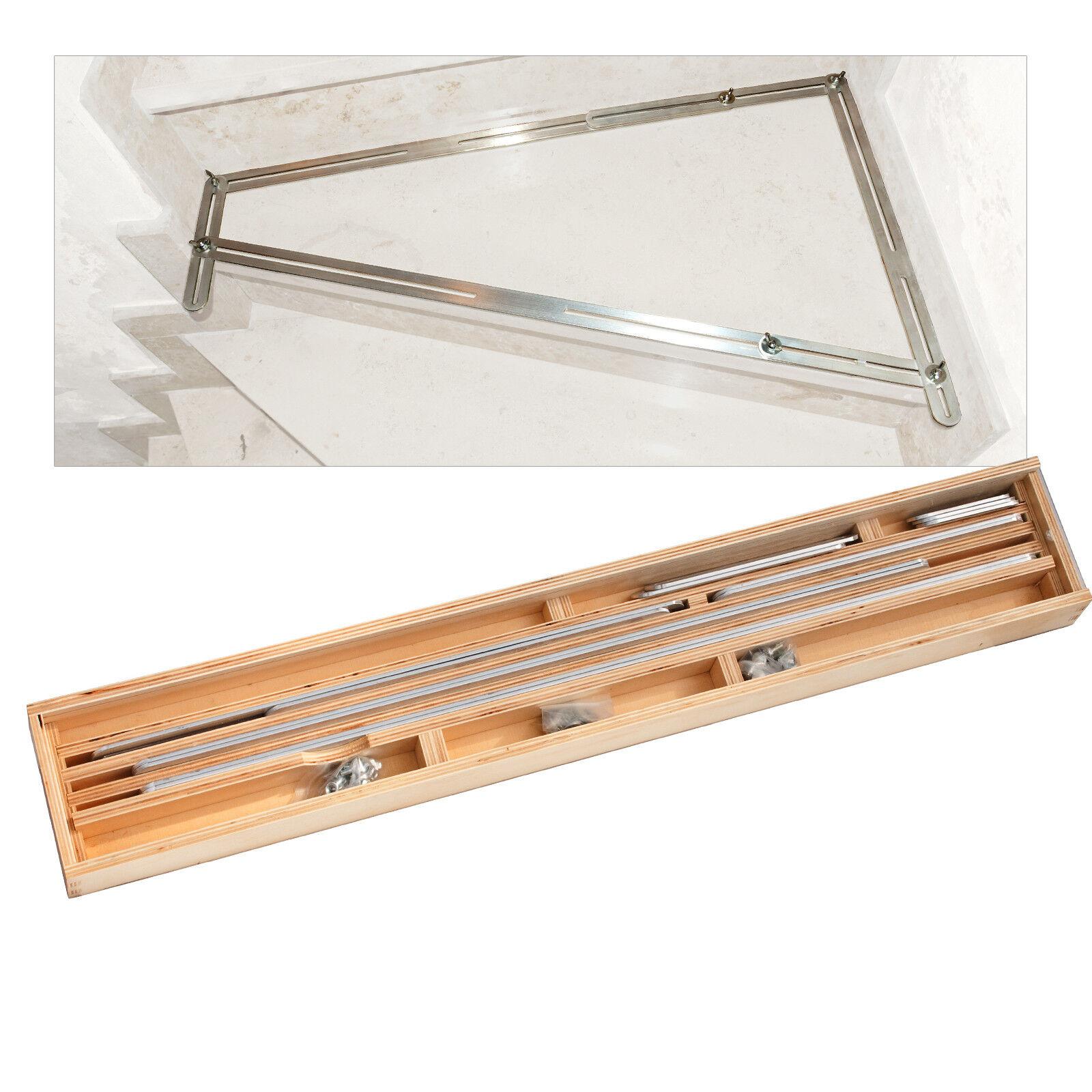 BAUTEC Winkelschablone PB61-64 / Treppen-Schablone / Treppenlehre im Holzkoffer