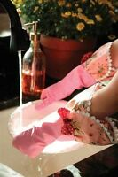 Victorian Trading Co Shabby Chic Pink Rubber Dish Washing Gloves With Ruffle