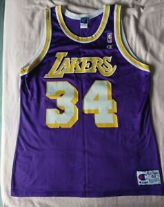 Details about Shaquille O'Neal Shaq LA Lakers 34 Champion NBA Jersey Purple Size 44