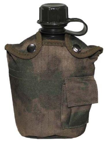 US Feldflasche Kunststoff Trinkflasche mit Tarn Nylonbezug HDTcamoFG 1 Liter NEU